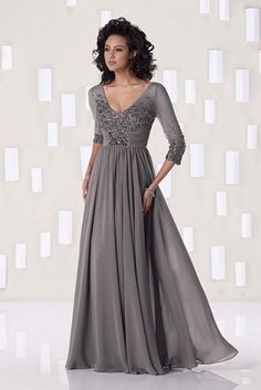 mother of the bride dresses || Steel Gray Evening Gown with 3/4 length sleeves