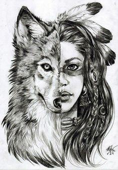 ▷ 1001 + Ideen für Mädchen zeichnen zur Inspiration un lobo y una niña, dos caras de una joven india, dibujan imágenes geniales y arte corporal Wolf Tattoos, Lion Tattoo, Animal Tattoos, Girl Tattoos, Tattoos For Women, Guardian Tattoo, Tattoo Geometrique, Native American Wolf, Girl Face Drawing