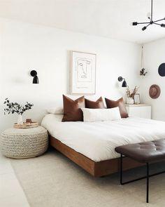 Suites, Home Bedroom, Light Bedroom, Bedroom Wall, Bedroom Frames, Guy Bedroom, Bench In Bedroom, Artwork For Bedroom, Beige Walls Bedroom