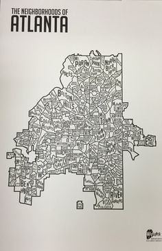 The Neighborhoods of Atlanta Print 24 x 36 by maplanta on Etsy