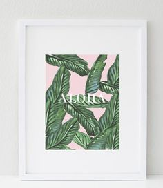 "Beautiful botanical palm leaf decor with a soft blush background and aloha typography. A tropical summer print that with light up your living space.★ PRODUCT SKU # DBM297 ★♥ Prints do not come framed, framed images are just for example♥ Size: 8 ""X 10"" ♥ Colors may vary slightly depending on your monitor♥ PRINTS SHIP 5-6 DAYS FROM ORDER DATEAll designs created by Maria. www.bymaria.com"