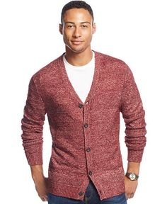 Club Room Allover Textured Farisle Cardigan, Only at Macy's - Sweaters - Men - Macy's