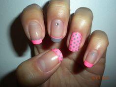 Neon Pink & Grey Nails