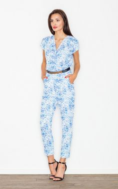 Blue Dots Belted Jumpsuit - SilkFred