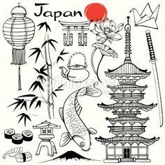 Vector Art : Japan Source by Coin D'art, Bullet Journal Japan, Japan For Kids, Japanese Symbol, Japanese Kanji, Japanese Drawings, Doodles, Art Japonais, Art Corner