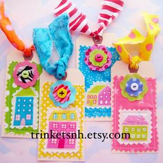 Sewn Colorful Houses Fabric Tags Set of Four by trinketsnh on Etsy