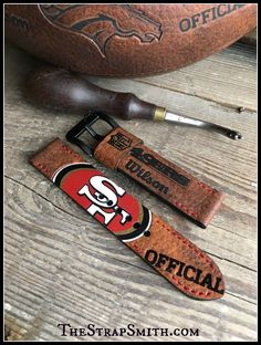 Custom 49'ers football strap! Here are 5 more teams to choose from for custom straps including Vikings, Raiders, Bears, Packers, and Steelers. #NFL, #Vikings, #Raiders, #Bears, #Packers, #Steelers, #custombuilt, #handmade, #thestrapsmith www.TheStrapSmith.com