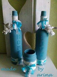 a project with gesso, empty wine bottles