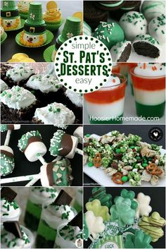 Patrick's Day Desserts - Simple, easy recipes that you and your family will LOVE! Patrick's Day Cupcakes, Brownies, No Bake Treats, and more! Mini Pizzas, Green Desserts, Easy Desserts, Dessert Recipes, Pasta Primavera, Fusilli, Disney Family, Antipasto, Scones