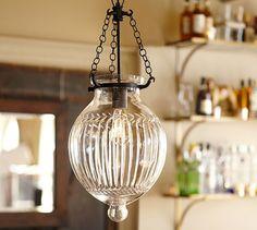 "Hundi Cut Glass Lantern   Pottery Barn   ""etched"" pattern   online only   11.5""dia x 17""h   1x 60w   9.5 lbs   349.00 each"