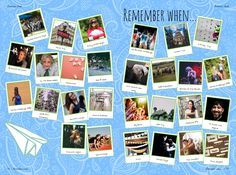 If you've only got one or two photos from events don't fret! You can always make a 'remember when' yearbook page which features 1 photo for each of the different events and trips over the years Yearbook Class, Yearbook Pages, Yearbook Layouts, Yearbook Design, Yearbook Ideas, Magazine Layout Design, Memory Books, Student Life, Writing Tips