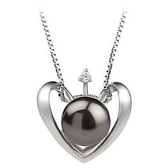 PearlsOnly Heart Black 9.0-9.5mm AA Freshwater Silver with Rhodium Plated Cultured Pearl Pendant: Jewelry: Amazon.com
