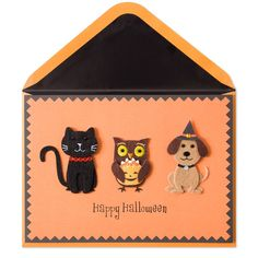 Halloween Cat, Dog & Owl Halloween card by Papyrus. Available at Memento Gift Shop, Palm Springs. 760-325-1963