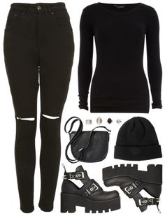 all black grunge outfit. chunky boots, beanie, ripped jeans