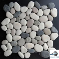 GREY-MIXED-ROUND-PEBBLE-MOSAIC-TILE-Backsplash-Bathroom-Shower-Wall-Floor-Stone