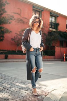 long grey duster outfit with white Monrow tee and Levi's high-rise 721 denim