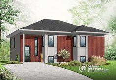 Petite maison contemporaine très économique offrant 2 chambres, une grande salle de séjour & un espace ouvert !  http://www.dessinsdrummond.com/detail-plan-de-maison/info/1003102.html