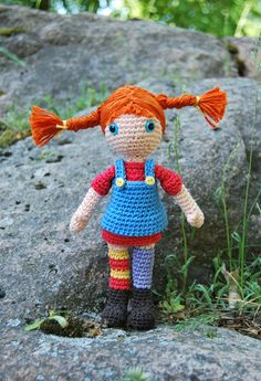Crocheted amigurumi Pippi Longstocking, the strongest girl in the world