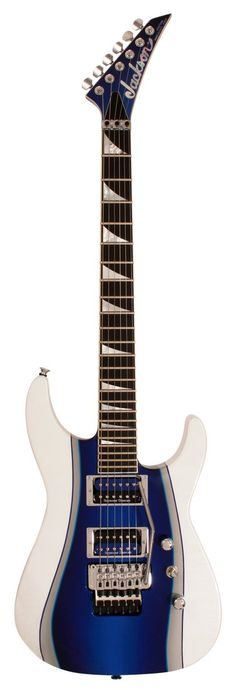 Royal blue and white Jackson Custom Shop SL2H Pedregon Graphic Electric Guitar with large triangle inlays fret markers. 4 5 6 STRINGS.
