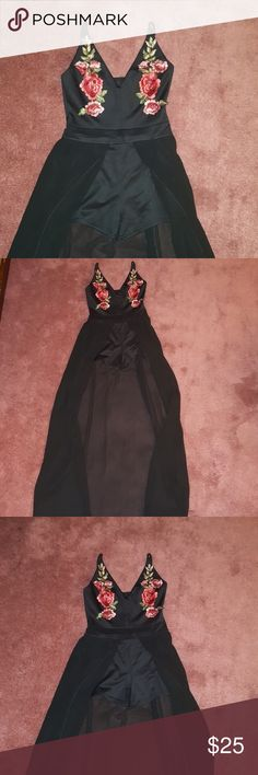 Regal ROMPER Black romper with sheer cape like skirt, spaghetti strap top with floral stitching unknown Dresses