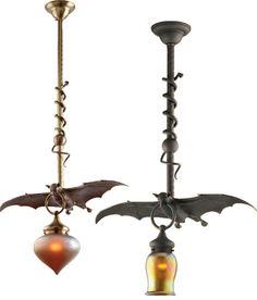 Hanging Bat Pendant Lights. love