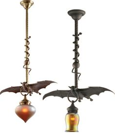 My husband works in lighting. He showed me these bat pendants a while back. Maybe for our library? (What? My imaginary house can have a library. Just look at my other pins...)