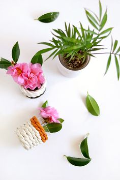 DIY clay rope bud vases for We Make Collective