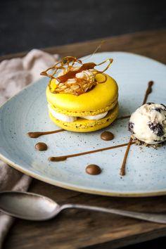 Banana Macaroon with Rum & Raisin Ice Cream.. #foodie #macaroon