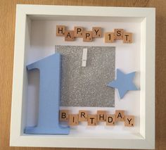 13 Wonderful Photo Frame Kits For Kids Photo Frames Rose Gold Birthday Photo Frame, 1st Birthday Photos, Birthday Frames, Happy Birthday, Scrabble Tile Crafts, Scrabble Frame, Scrabble Art, Box Frame Art, Deep Box Frames