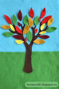 """Осеннее дерево из фетра и галерея """"Осенью с детьми"""" ~ С улыбкой на лице!"""