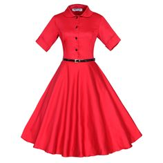 Maggie Tang 3/4 Sleeve 1950s Vintage Rockabilly Dress Size S Color Red