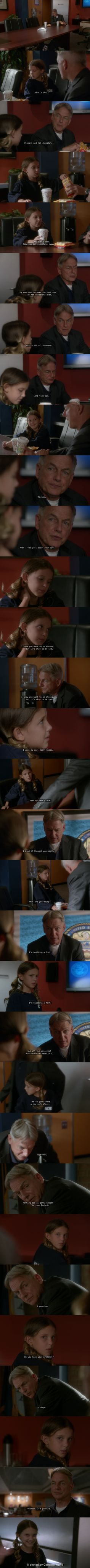 """Gibbs being fatherly :) scene between Gibbs and a young Rachel """"Parental Guidance Suggested"""" NCIS 12x06, pinned by   Caroline Wong  """