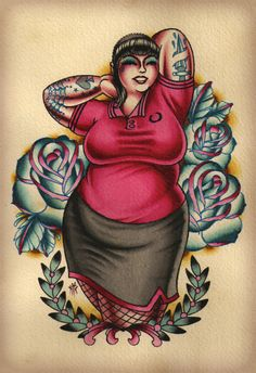 By Nick the Barbarian. Yeah, someone got that ink on their body forever. Step back tiny, fat girls rock.