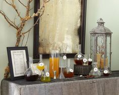 DIY Potion Bar - Idea for Halloween, engagement or wedding or any party. Have a plain sparkling as a mixer.