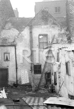 A view of the backs of terraced houses on Marrowbone Lane, Dublin city, in 1952 or 1953. Collection RTÉ Johnson Collection Photographer Johnson, Nevill
