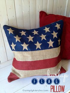 Sewing Pillows No Sew Burlap Flag Pillow - Easy DIY of July Decoration to Make! - This darling burlap flag pillow is very simply to make---just a few supplies and you can make your very own! Perfect for May-July, or to decorate anytime! Burlap Flag, Burlap Pillows, Burlap Fabric, Throw Pillows, Sewing Pillows, Decorative Pillows, Burlap Projects, Burlap Crafts, Diy Projects