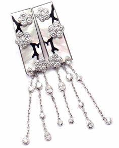 Van Cleef & Arpels Miroir des Eaux Onyx Pearl Diamond Flower White Gold Earrings