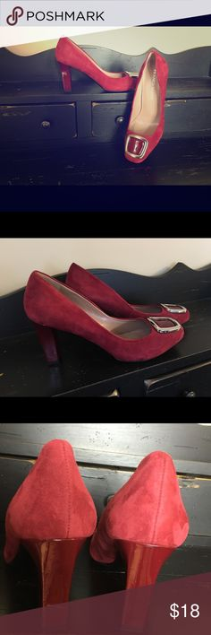 Franco Sarto Red Suede Pumps size 8 Beautiful deep red w/ silver buckle accent. Good condition, indention on back of one heel as pictured. Rubber sole. Franco Sarto Shoes Heels