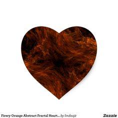 Firery Orange Abstract Fractal Heart Sticker