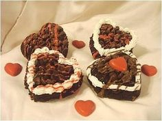 Heart Shaped Brownies Drizzled w/ Chocolate, Cakes By Nette