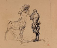 KLEY,Heinrich - FAUN HOLDING MIRROR TO CENTAURESS TRYING ON A HAT