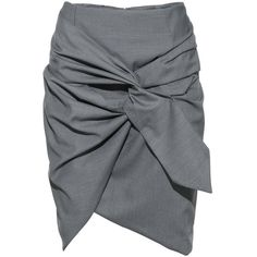 FRS Grey Tie Front Ruffled Mini Skirt ❤ liked on Polyvore featuring skirts, mini skirts, ruffled skirt, flounce skirt, lycra skirt, short ruffle skirt and spandex skirt