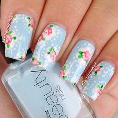 Cath Kidston Provence Rose by phenomenail  #nail #nails #nailart
