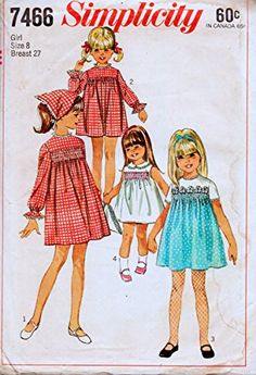Simplicity 7466 Girls Dress with Smoking and Scarf Sewing Pattern Transfer Included Vintage Sewing Pattern Check Offe. Smocking Patterns, Amazon Art, Sewing Stores, Vintage Sewing Patterns, Paper Dolls, Sewing Crafts, Smoking, Aurora Sleeping Beauty, Girls Dresses