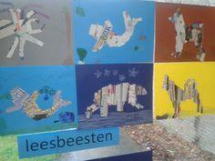 leesbeesten in groep 3 en 4- leuk naar aanleiding van werelddierendag School Projects, Projects For Kids, Art Projects, Crafts For Kids, Teachers Pet, Animal Antics, Art Curriculum, Collage, Art Plastique