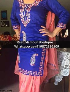 Dashing Blue And Pink Embroidered Punjabi Suit Product Code : Reet_s198 All colours any stuff can be customise To order, call/whatsapp on +919872336509 It will make you noticable in special gathering. Buy Link : https://www.facebook.com/reetglamourboutique/