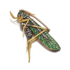 Late 19th century gold, enamel and diamond brooch, by Auger & Gueret, Paris.