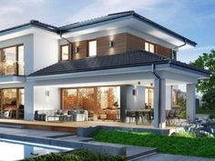 House Front Design, Modern House Design, House With Porch, Villa Design, Facade House, Home Design Plans, Cuisines Design, Residential Architecture, Home Fashion