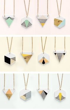 DIY: Geometric necklace pendants (link not found, could be using shrink plastic? Oh the lovely things: Geometry is fun! DIY necklace and pentants I'm thinking DIY with paint chips. Diy Jewelry, Jewelery, Jewelry Accessories, Jewelry Necklaces, Handmade Jewelry, Jewelry Design, Jewelry Making, Jewelry Ideas, Fashion Jewelry
