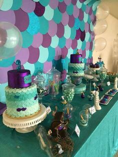 Blue and purple mermaid party
